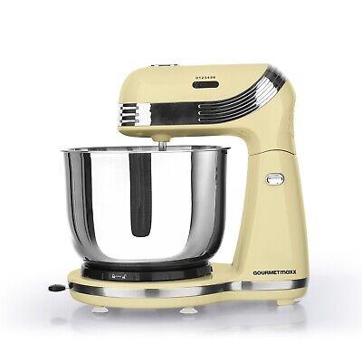 GOURMETmaxx Küchenmaschine Retro 250W Vanille 6 Geschwindigkeiten Kipp-Kopf