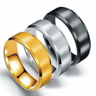 Stainless Steel Rings for Men Wedding Ring Cool Simple Band Engagement Gift 8mm