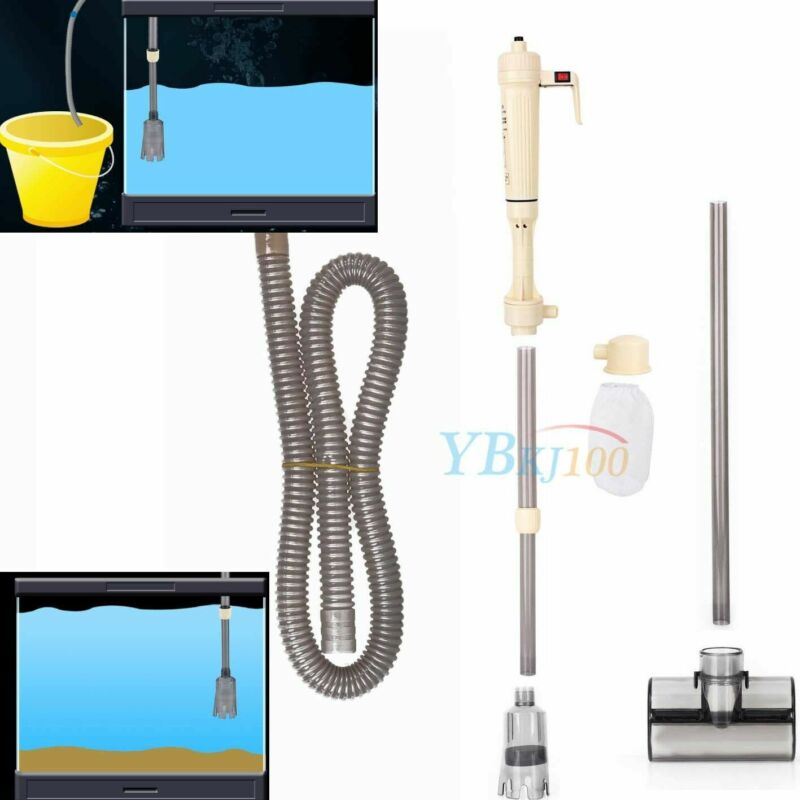 US Electric Aquarium Fish Tank Vacuum Syphon Cleaner Pump Sand Wash Water Fliter