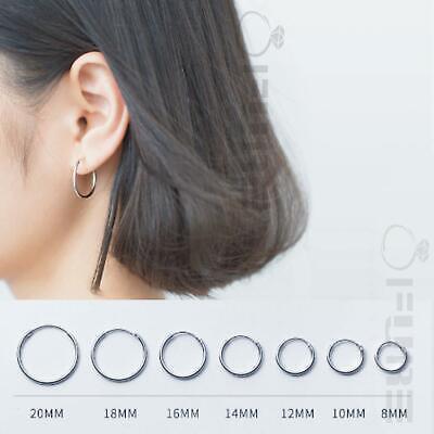 PAIR of Solid 925 Sterling Silver Round Circle Loop Hoop Earrings Nose Lip Ring
