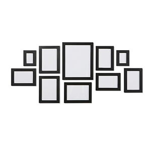 Black 10 Piece Multi Collage Picture Photo Frame Frames Aperture Wall Table Set