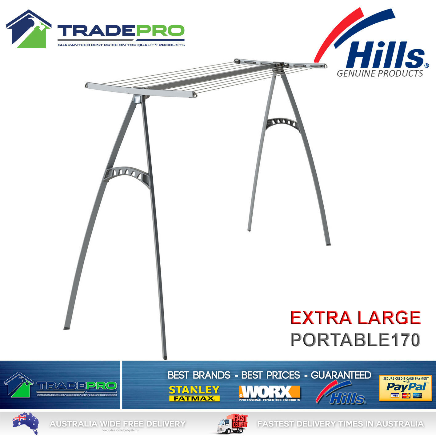Details About Hills Clothesline Portable 170 New Model 17m Pro Clothes Line Airer Drying Rack