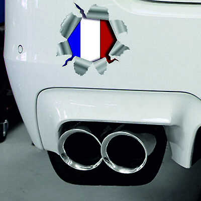 Torn Ripped 3D Effect French Flag France Car,Bumper Vinyl Decal Sticker (French Flag Bumper Sticker)