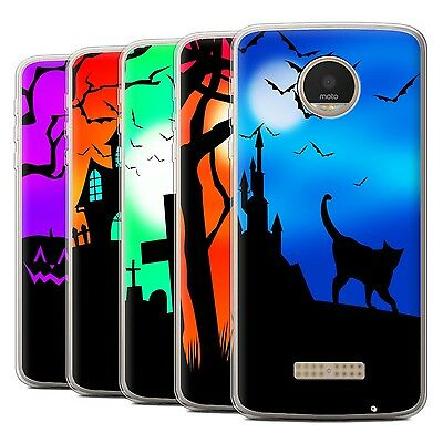 STUFF4 Gel/TPU Case/Cover for Motorola Moto Z Play/Droid/Halloween - Halloween Forest Scene