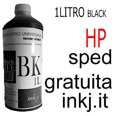 INCHIOSTRO Black 1 LITRO X CARTUCCE DYE HP kit ciss ricarica universale ink-j
