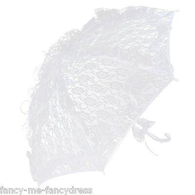 Kostüme Sonnenschirm (Damen Weiß Spitze 1920s Jahre Strand Sonnenschirm Regenschirm Kostüm Kleid)
