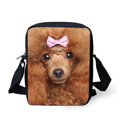 Cute Poodle Small Messenger Sling Bag Women's Handbag Purse Kids Outdoor Bags