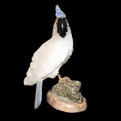 Handmade Gefertigter Cockatoo Bird from Semi-Precious Stones, Agate, Pyrite Etc