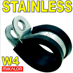 EPDM Rubber Lined P Clips Hose Pipe Clamp Cable Wiring Metal & Stainless Mikalor