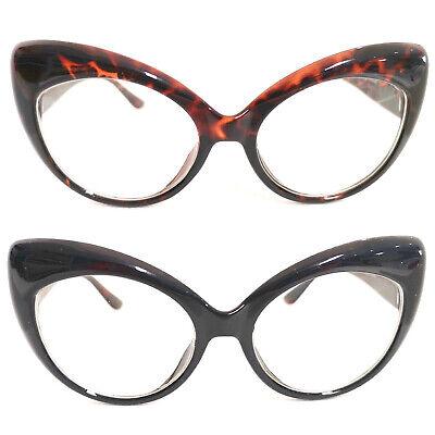 Cat Eye Brille Nerd Brille Übergroß 50er Jahre Klarglas Pinup schwarz braun #894