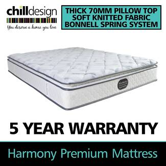 SINGLE KING SINGLE DOUBLE QUEEN KING 70MM PILLOW TOP BED MATTRESS