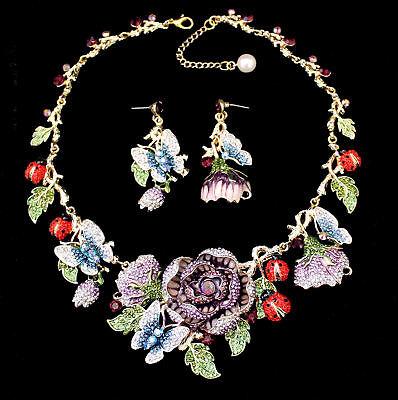 Kristall Schmuckset Kette und Ohrringe mit Rosen Käfern und Schmetterlingen lila (Kristall Schmuck Lila)