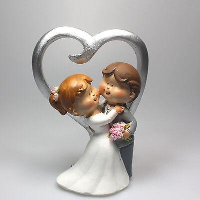 Deko-Brautpaar Tortenfigur Hochzeitspaar Herz silber 037 Hochzeit 12 cm