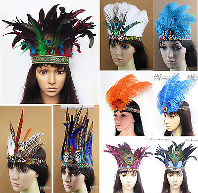 Indian Feather Headband Carnival Headdress Headgear Headpieces Halloween Event