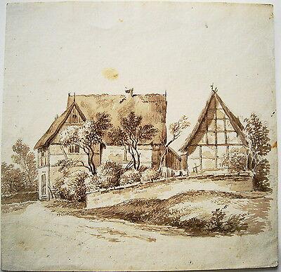 Fachwerkhaus Gehöft Weiler Landschaft meisterhafte Federzeichnung. um 1820
