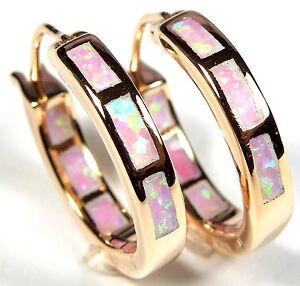 Rose Gold Over 925 Sterling Silver & Pink Fire Opal Inlay Hoop Earrings 5/8''