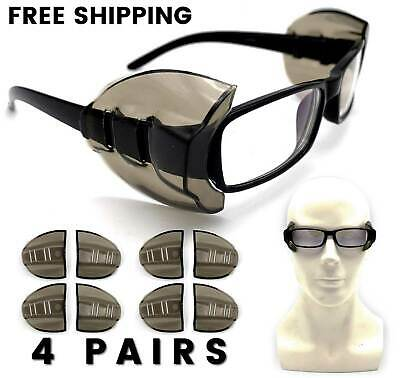 4 Pair Safety Eye Glasses Side Shields Dark Flexible Slip On - Medium Large