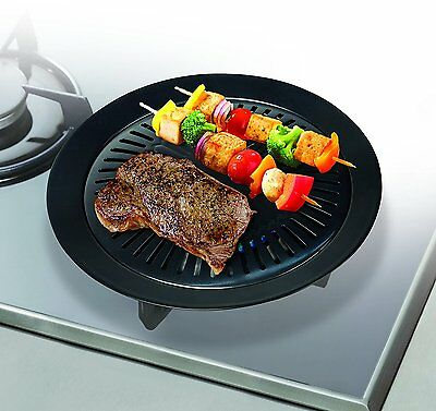 Handy Gourmet Stove Top Grill / Griddle, Cast Iron - Healthy Kitchen Barbecue /