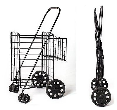 Black Heavy Basket Liner Cart Shopping Grocery Folding Trolley Laundry 360Wheels