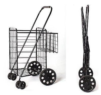 Black Heavy Basket Liner Cart Shopping Grocery Folding Trolley Laundry 360Wheels