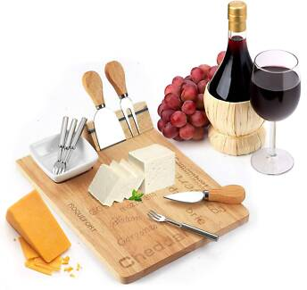 Cheese Board Set - 3 Piece Cheese Knife Set & 4 Small Forks Cloverdale Belmont Area Preview