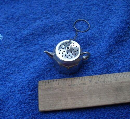 Vintage AMCRAFT Sterling TEAPOT Form Ball TEA INFUSER w/Chain-NR