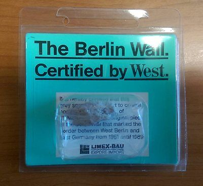 Original Genuine Piece of The Berlin Wall Certified by the West Memorabilia Gift