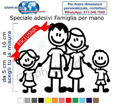 4 adesivi stickers adesivo famiglia a bordo vetri auto nome bambini per mano