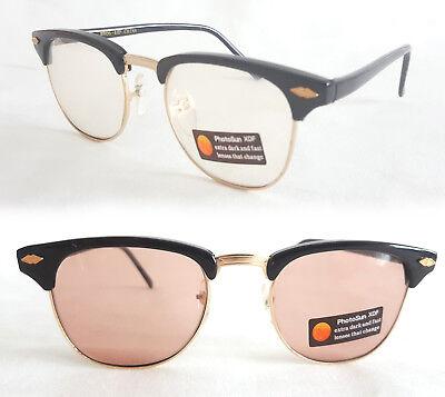 Original Vintage Brille 80er Jahre Alterspuren schwarz leo färbt in der Sonne