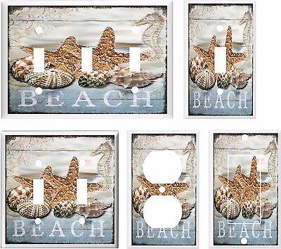 SEASHELL STARFISH BEACH LIGHT SWITCH COVER PLATE K 1   U PICK PLATE SIZE
