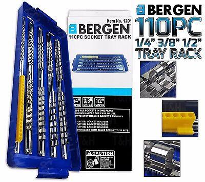 "BERGEN 1/4"" 3/8"" 1/2"" 110 Clip Socket Storage Rails Socket Tray Rack Bit Holder"