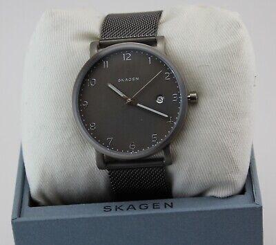 NEW AUTHENTIC SKAGEN HAGEN GUNMETAL GREY TITANIUM MESH MEN'S SKW6307 WATCH