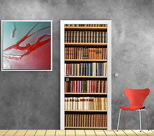 stickers pour porte trompe l 39 oeil d co biblioth que r f. Black Bedroom Furniture Sets. Home Design Ideas
