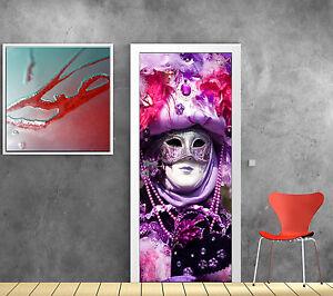 Stickers pour porte trompe l 39 oeil d co masque venise r f 770 ebay - Stickers porte capitonne ...
