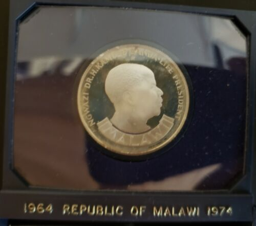 1974 Malawi 10 Kwacha Silver Proof in Original Government Holder!  KM13!