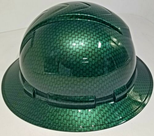 NEW FULL BRIM Hard Hat custom hydro dipped MONEY GREEN BIG WEAVE CARBON FIBER  1