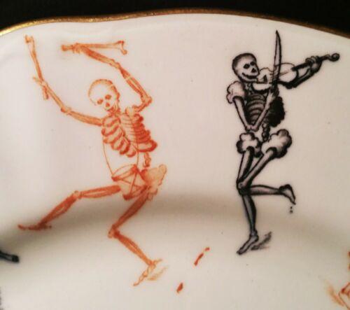 THE ILLUMINATI antique skull & bones yale university skeleton vtg table plate