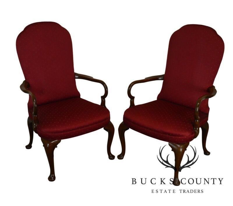 Kittinger Custom Mahogany Pair Queen Anne Arm Chairs