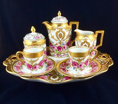 Antique German? French? Demitasse Tea Coffee Set Hand Painted