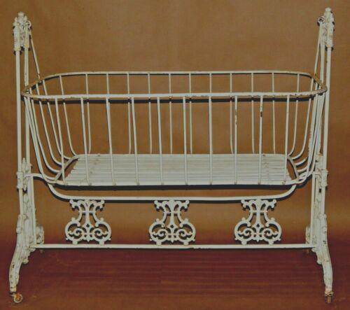 RARE Victorian baby cradle cot wrought iron rocking cradle