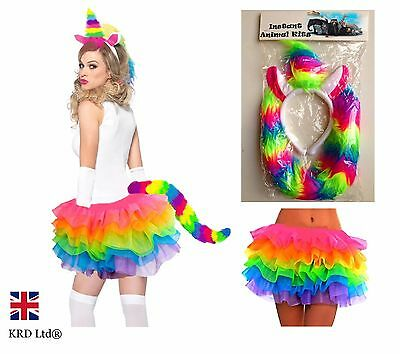 Ladies MAGICAL RAINBOW UNICORN TUTU COSTUME Halloween Fancy Dress Girls Skirt UK