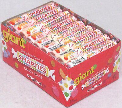 Giant Smarties Candy (Box of 36 Rolls) Original Fruit Bulk Candies 2.12 LBS