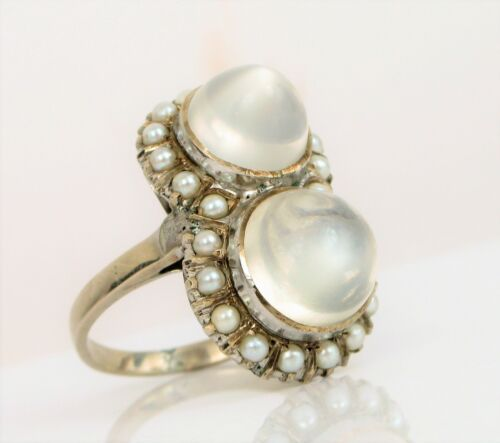 ANTIQUE FINE ART DECO PLATINUM NATURAL CATS EYE MOONSTONE RING PEARL HALO !!