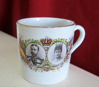 ANTIQUE  KING GEORGE V JUNE 22 1911 CORONATION QUEEN MARY MUG CUP ENGLAND