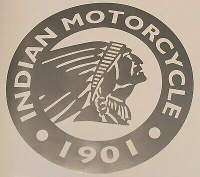 """Indian Motorcycle Large Round GUNMETAL GRAY Logo Decal Sticker - 24"""" Diameter"""