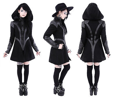 Bär Kapuze (Restyle Gothic Nugoth Jacke Mantel Hoodie Kapuze abnehmbar Future Goth Witchy)