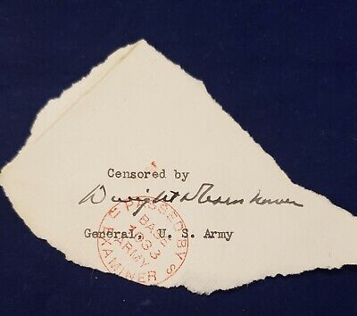 General  Dwight D. Eisenhower Signed US Army Censored Cover Piece + Mark W Clark