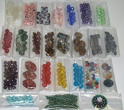 WHOLESALE JEWELRY SUPPLIES LOT~25 SMALL BAGS OF BEADS~GLASS~GEMSTONE~PORCELAIN
