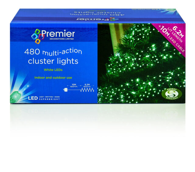 480 Multi-Action Cluster Lights White LEDS 10M Christmas Decorations ,Party etc