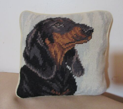 vintage hand made embroidered figural dachshund dog needlepoint pillow